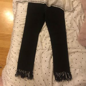 Denim - Black fringed jeans